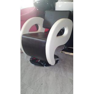 Фризьорски стол Glory - в черно и бяло